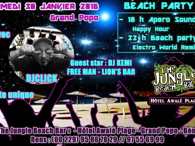 Beach Party au Jungle Beach Bar à L'hôtel Awalé Plage (Grand Popo - Bénin)